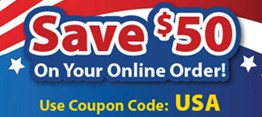 Save $50 On Your Online Order! Use Coupon Code: USA